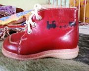 Ботиночки (кожа) красные с мехом (зима/поздняя осень)