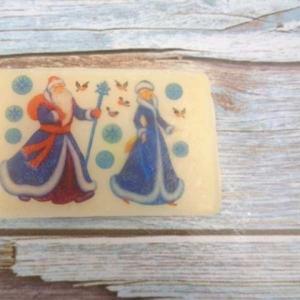Мыло с Дедом Морозом и Снегурочкой,  ручной работы